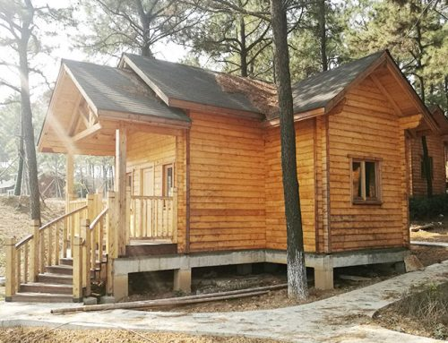 IG-1-044 high quality one floor log cabin prefab wooden resorts for sale